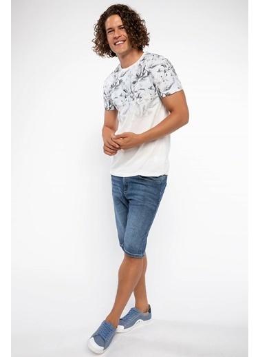 DeFacto Çiçek Baskılı Extra Slim Fit T-shirt Beyaz